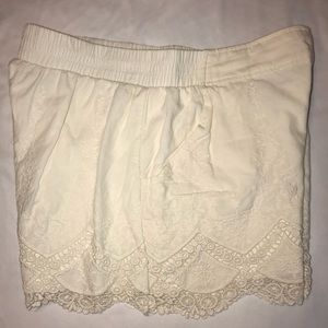 xhilaration ivory crochet trim shorts, Large